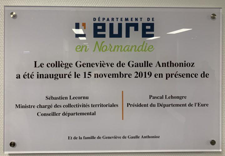 Inauguration du collège Geneviève de Gaulle Anthonioz du Neubourg